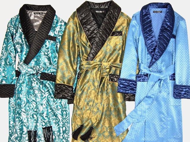 Männer Hausmantel Paisley Seide Dressing Gown Luxus Hausjacke englisch Morgenmantel britisch