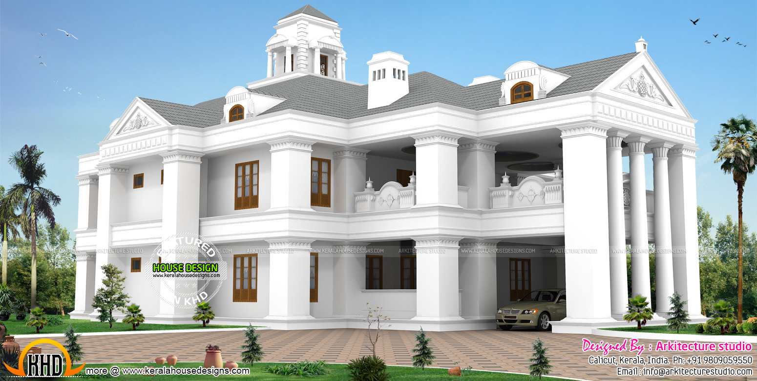 Colonial model luxurious home kerala home design and for Colonial luxury house plans