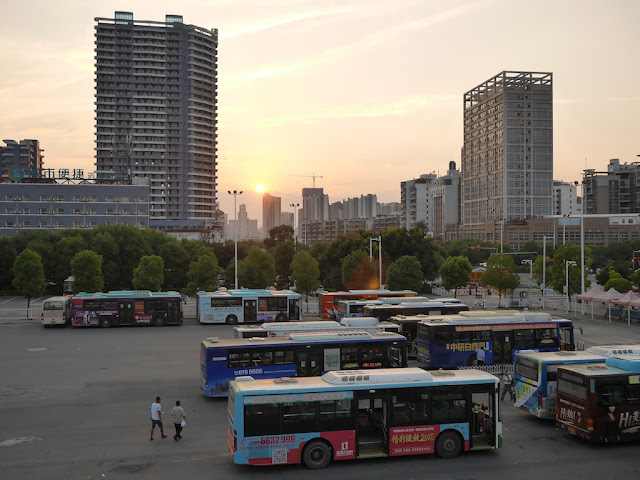 bus parking lot and stop at the Ganzhou Railway Station