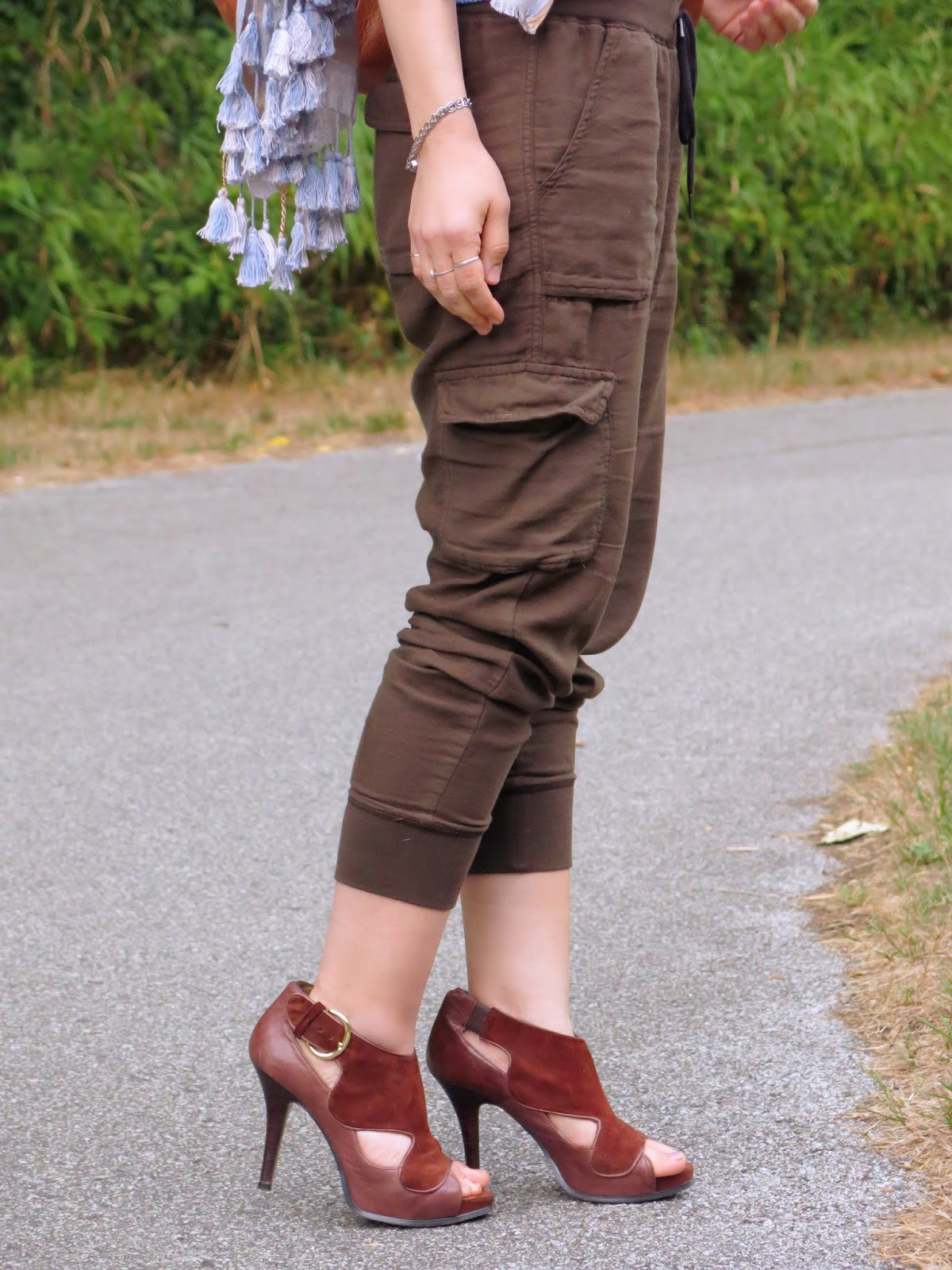 slouchy cargo pants and a tasselled scarf