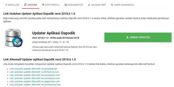 Download Updater 1.0 Aplikasi Dapodikdasmen Versi 2018.b