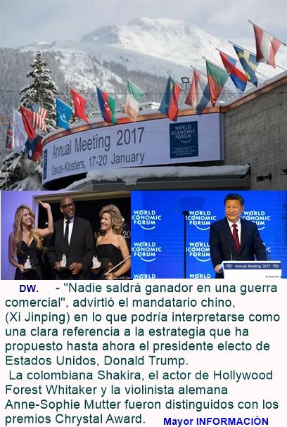 """Davos: Xi Jinping """"Debemos decir no al proteccionismo"""". Shakira es premiada -"""