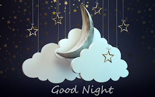 Half moon in clouds with good night Wallpaper