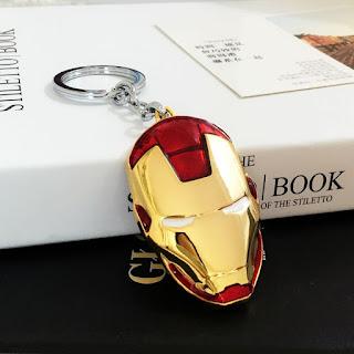 Avengers Iron Man Mask Keychain Purse Bag Buckle Keys Holder Alloy Keyring