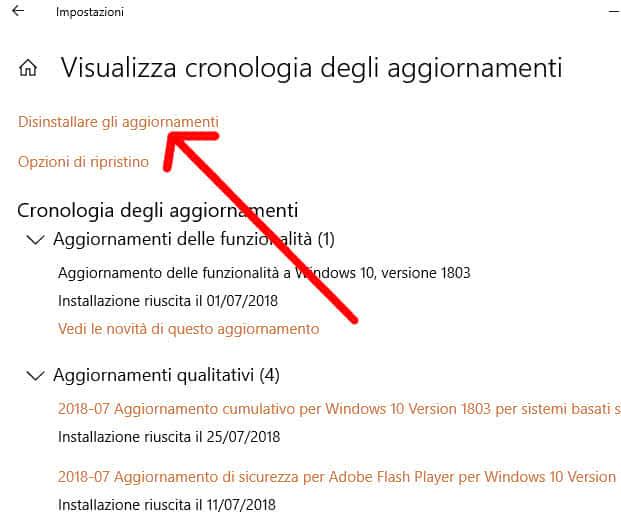 Disinstallare gli aggiornamenti Windows