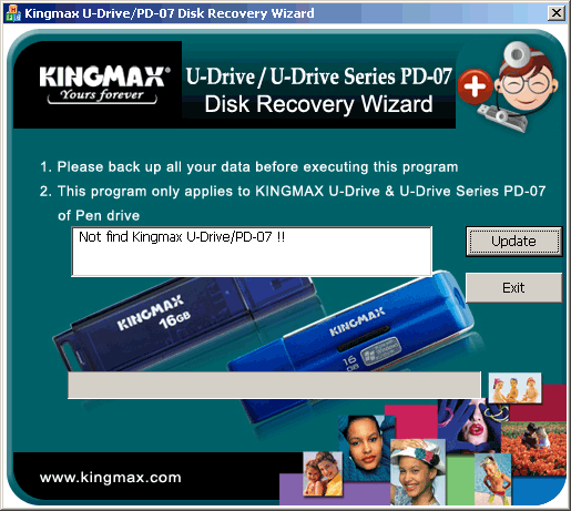 reparer cle usb repair kingmax usb flash drive Kingmax Drive U-Recovery Tool PD-07 V1.1