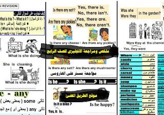 ملخص اللغه الانجليزيه للصف الرابع الابتدائي الترم الثاني في ورقتين pdf الاستاذ علي الهاروني