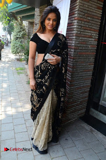 Actress Neetu Chandra Stills in Black Saree at Designer Sandhya Singh's Store Launch  0077.jpg