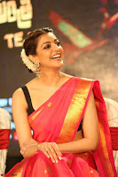 Kajal Aggarwal in Red Saree Sleeveless Black Blouse Choli at Santosham awards 2017 curtain raiser press meet 02.08.2017 023.JPG