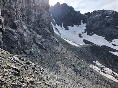 Vedretta dei secreti along trail 302. Vedretta is small glacier in a cirque.