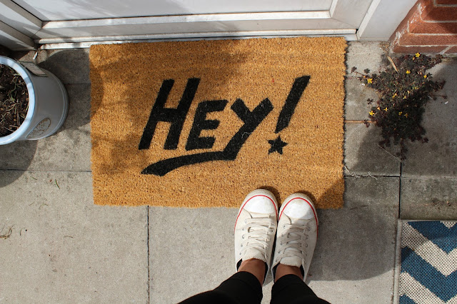 'Hey' Painted Doormat