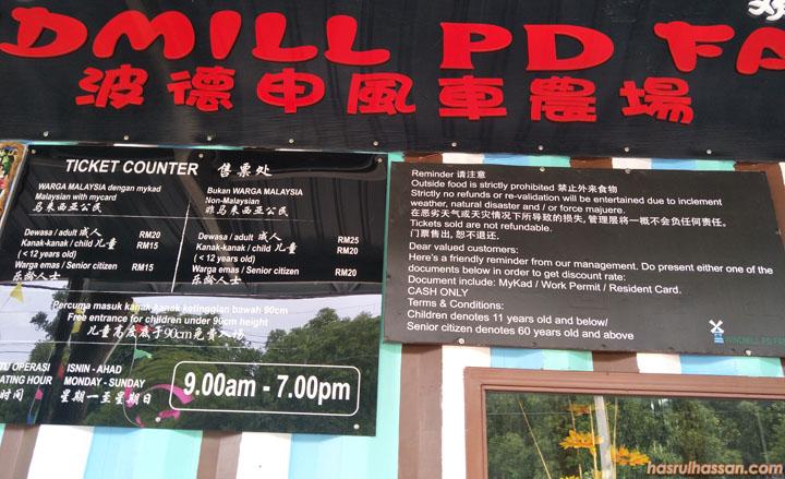 Harga tiket Windmill PD Farm Port Dickson