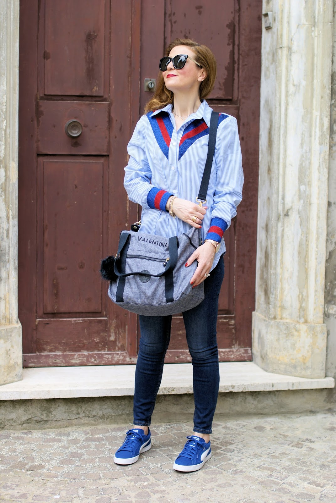 Kipling personalized bag: Wesosho shirt on Fashion and Cookies fashion blog, fashion blogger style