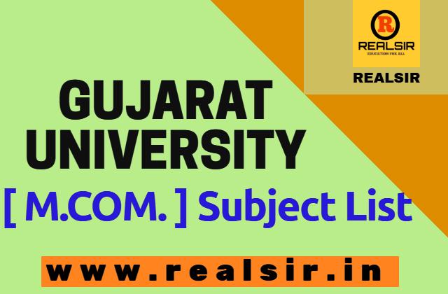 Gujarat University M.COM Subject List