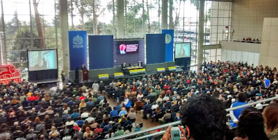 Richard Dawkins debates Colombian Jesuit priest Father Gerardo Remolina at Bogotá's Javeriana University ...