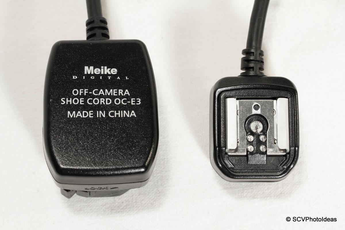 Meike OE-C3 Off-Camera Shoe Cord - connectors top detail