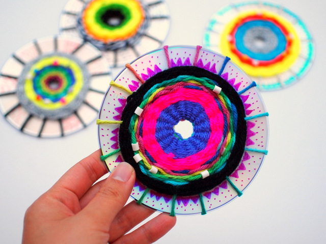 how to weave cds with kids- great craft and art project