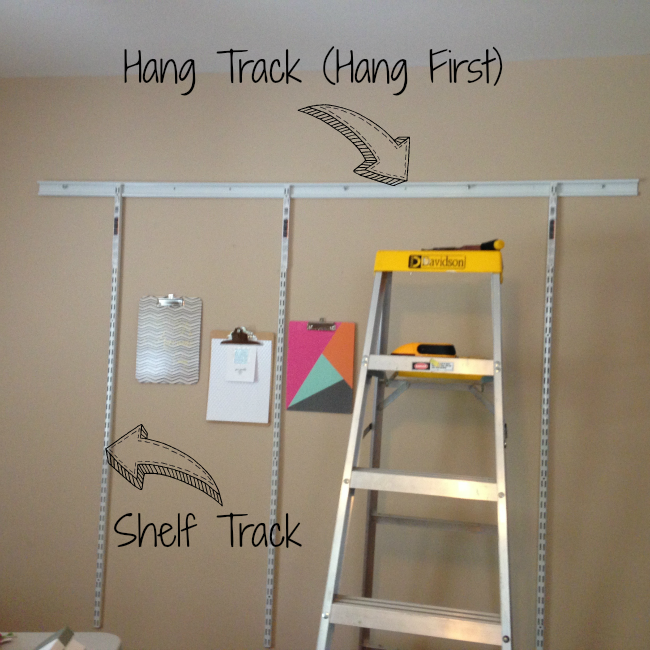 craft room, home office, Silhouette School, hang tracks, shelves