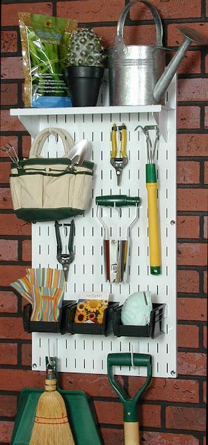 pegboard garden tool storage
