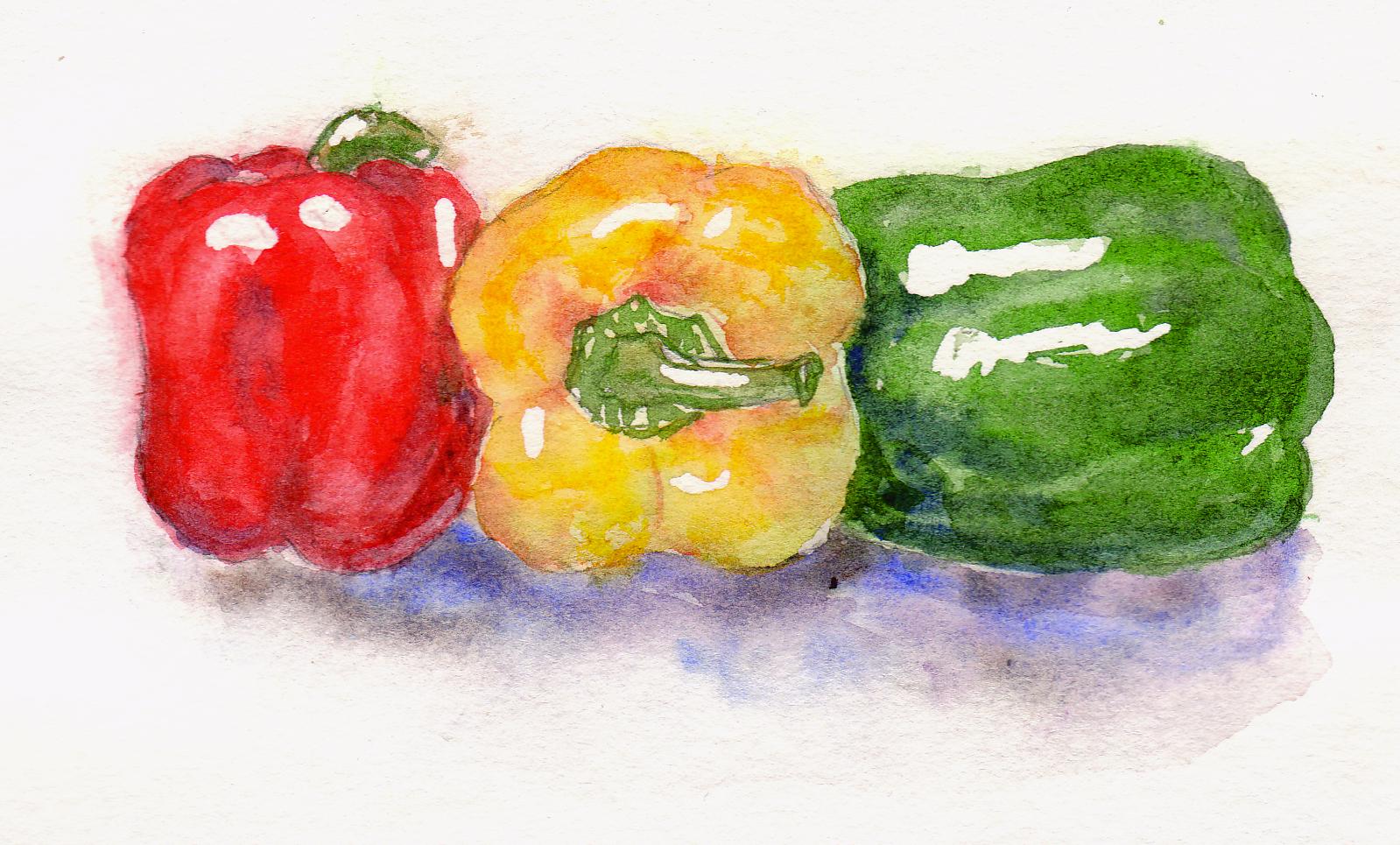 Wet On Wet Watercolour Bell Peppers Brushnpaper