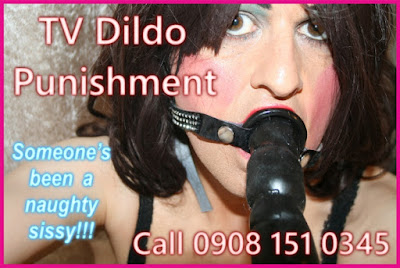 Naughty transvestite punished with huge black dildo