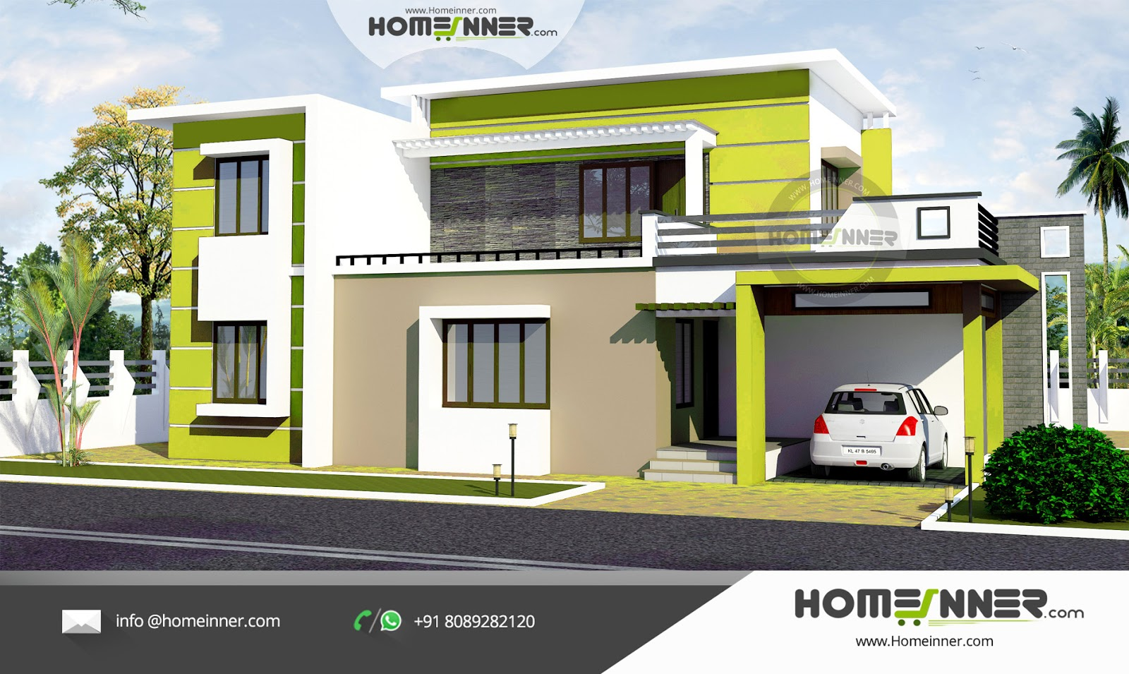 Contemporary Flat Roof 3 Bhk North Indian Home Style Home Design