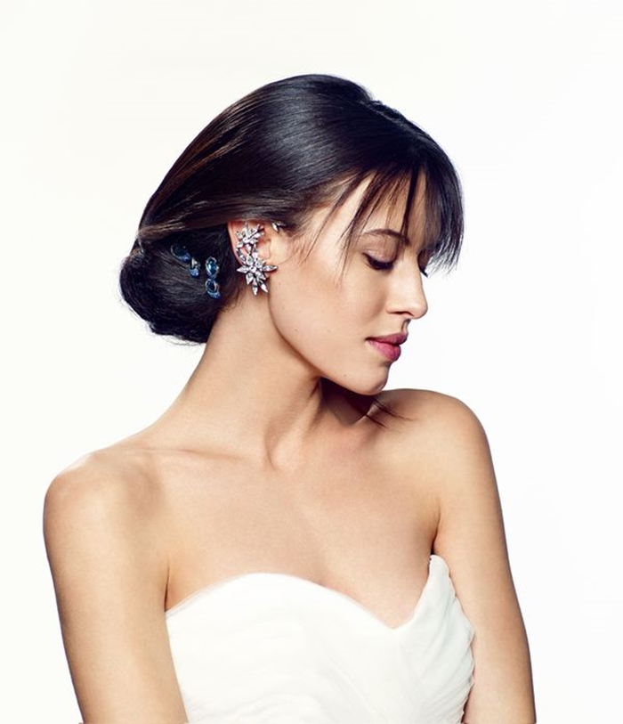 bridal updo hairstyle with bangs