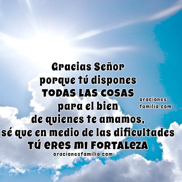 Imágenes con oraciones cortas para agradecer a Dios por su ayuda, frases cristianas con oraciones bonitas de gracias a Dios por Mery Bracho.