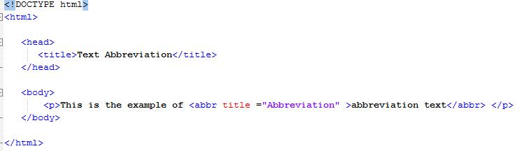 HTML Text Abbreviation