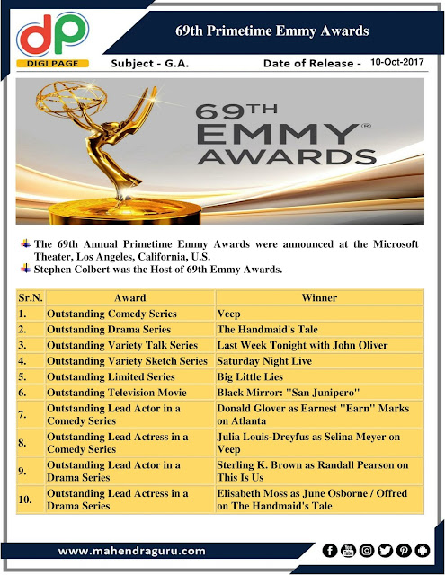 DP | IBPS RRB Mains Special : Emmy Awards 2017 | 10- Oct - 2017