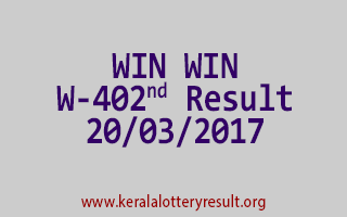 WIN WIN Lottery W 402 Results 20-3-2017