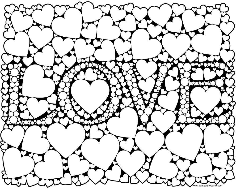Printable Coloring Pages For Adults Love : Don t eat the paste love coloring page