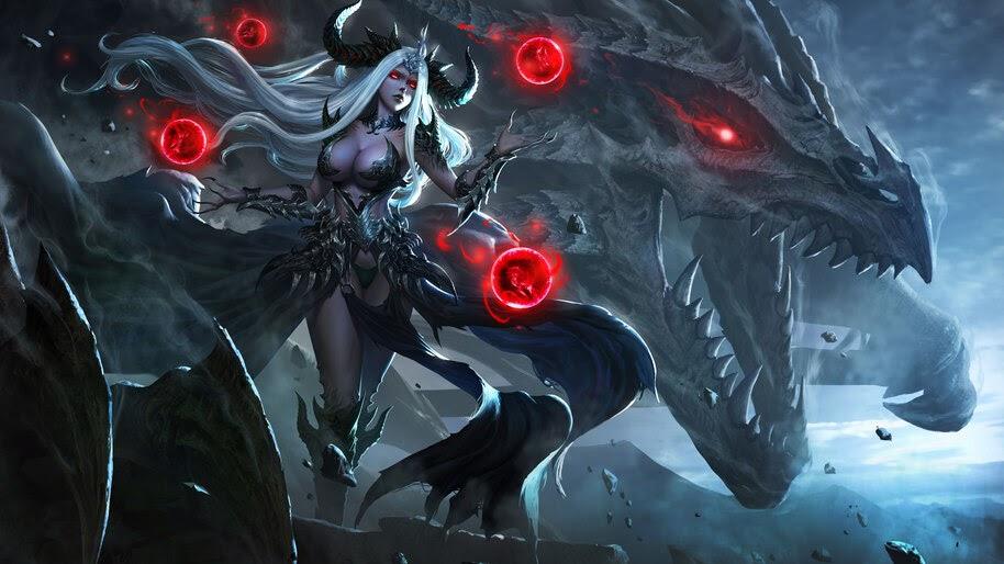 Fantasy, Demon, Girl, Dragon, 8K, #4.951