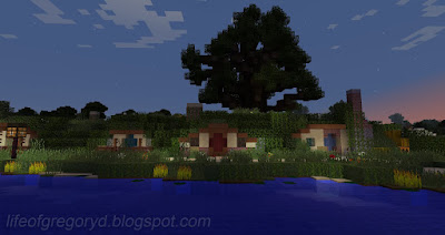 custom minecraft hobbiton build poolside
