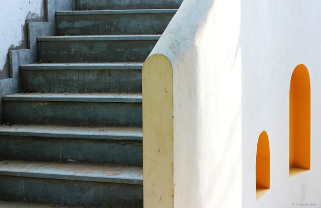 Minimalist Photo of a Staircase at a cafe in Bani Park, Jaipur.