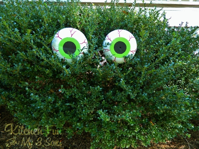 Dollar Store Spooky Bush Eyes Outdoor Craft Cheap Easy