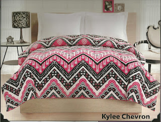 pink and black chevron bedspread