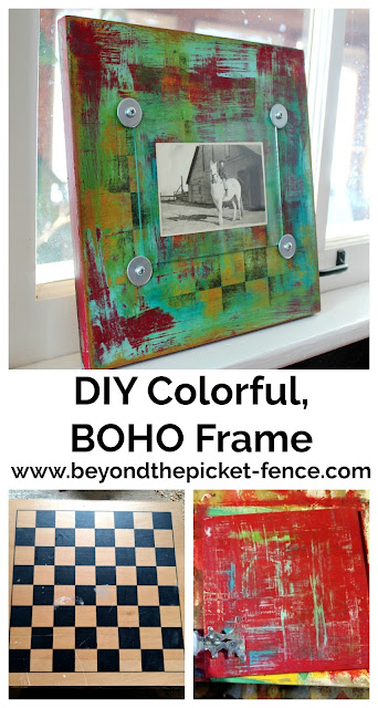 make a colorful boho style frame from a checker board