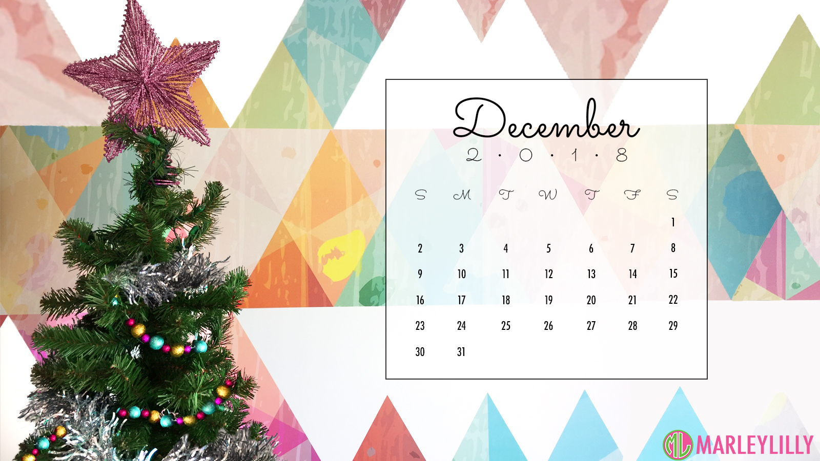 cute desktop background for december with christmas tree