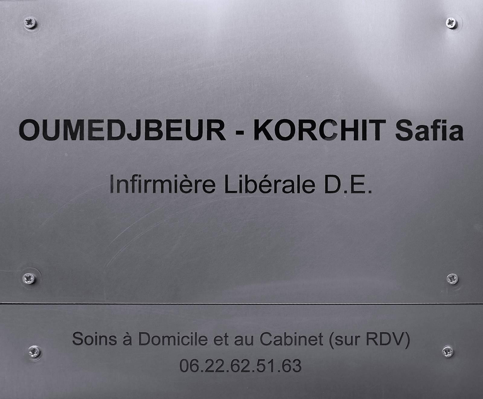 Infirmière Safia Oumedjbeur-Korchit, Tourcoing rue des Anges - Plaque.