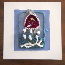 "Crocheted Shark Attack on Canvas 12""x12"""