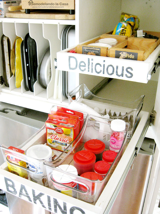 Delicious baking supplies in cabinet
