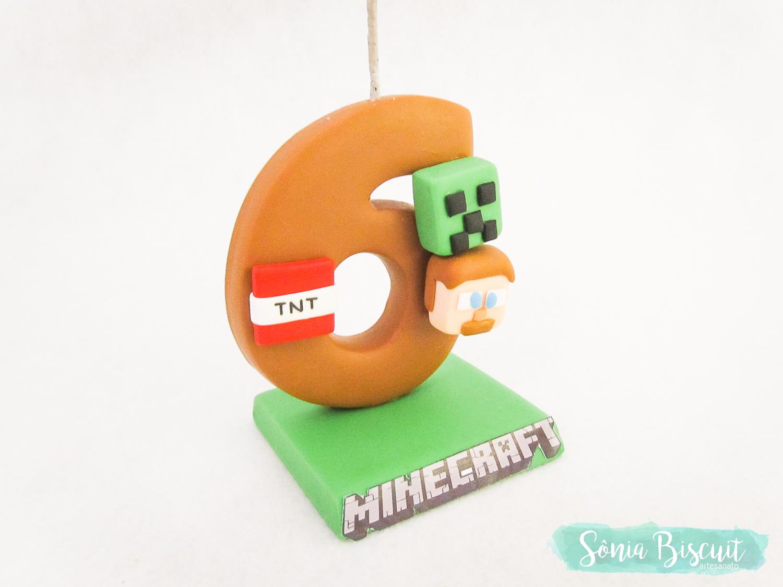 Sonia Biscuit, Biscuit, Minecraft, Cubos, Vela, Aniversário, Decoração