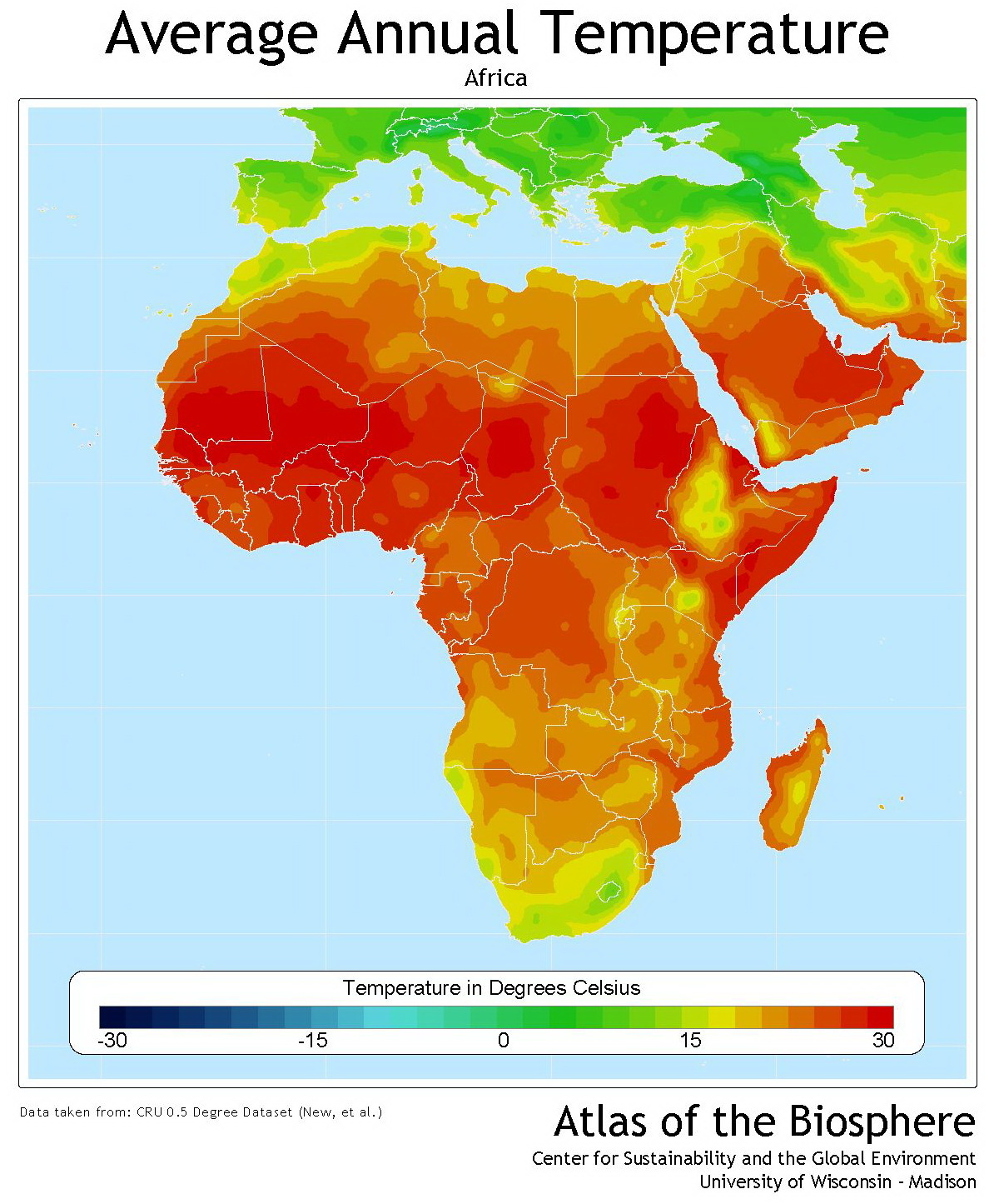 Africa average annual temperature