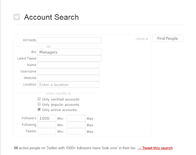 serach for users in Twitter