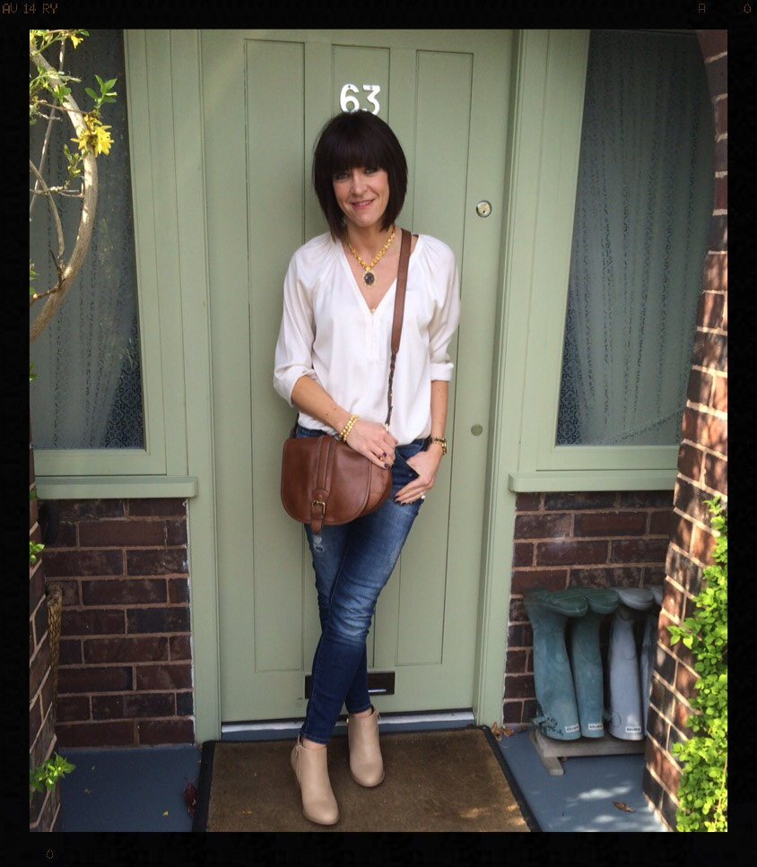 My Midlife Fashion, skinny Jeans, nude ankle boots, saddle bag, clarks, wallis, zara, mango, jewel street