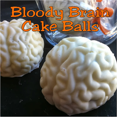 Serve some Bleeding Brain cake balls at your Halloween party. Your guests will be amazed at these yummy cake balls with a gooey center that looks like a oozing, bloody brain.  Add a free printable Halloween tag and you have the perfect treat.