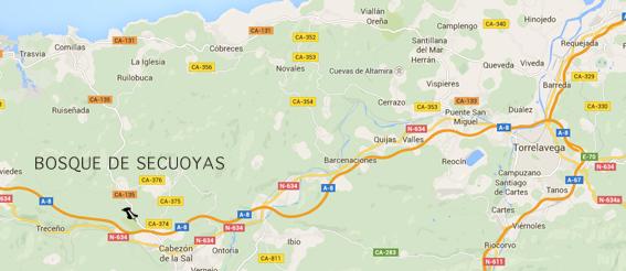 Mapa para llegar al  bosque de secuoyas de Cabezon de la sal en Cantabria