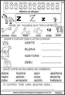 Livro famílias silábicas letra Z