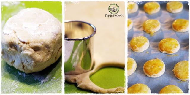 Gartenblog Topfgartenwelt Rezept: Herstellung von Scones mit Erdbeermarmelade und Mascarpone